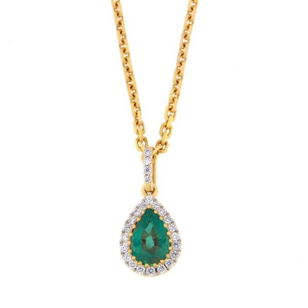 Kullast ripats teemantide ja smaragdiga Kood: 46m