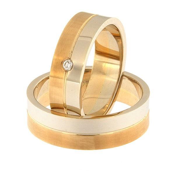 Kullast abielusõrmus teemantiga Kood: rn0108-6-1/2vl-1/2km1-1k