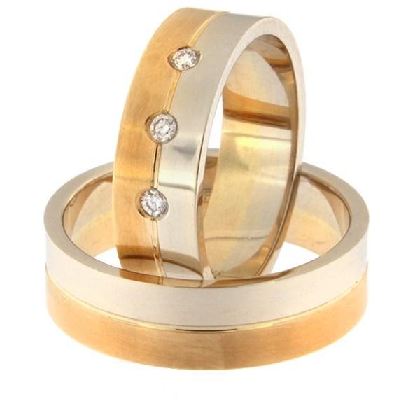 Kullast abielusõrmus teemantidega Kood: rn0108-6-1/2vl-1/2km1-3k