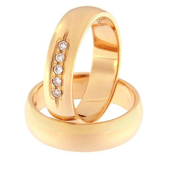 Kullast abielusõrmus teemantidega Kood: rn0116-5-5K
