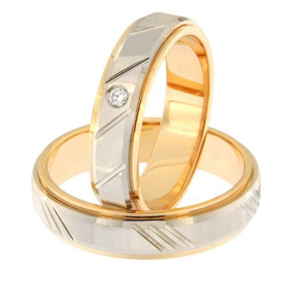 Kullast abielusõrmus teemantiga Kood: rn0138-5d-pv-ak-1k