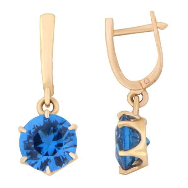 Kullast kõrvarõngad tsirkoonidega Kood: er0153-150-8-sinine