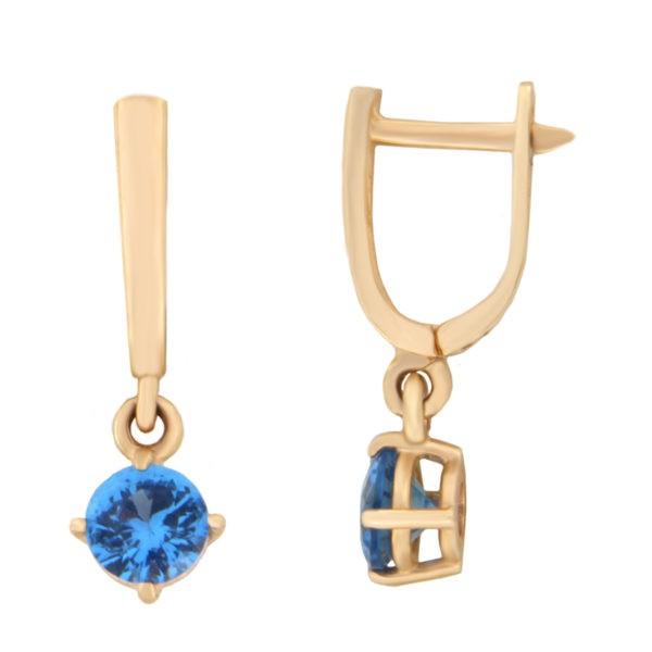 Kullast kõrvarõngad tsirkoonidega Kood: er0153-157-5-sinine