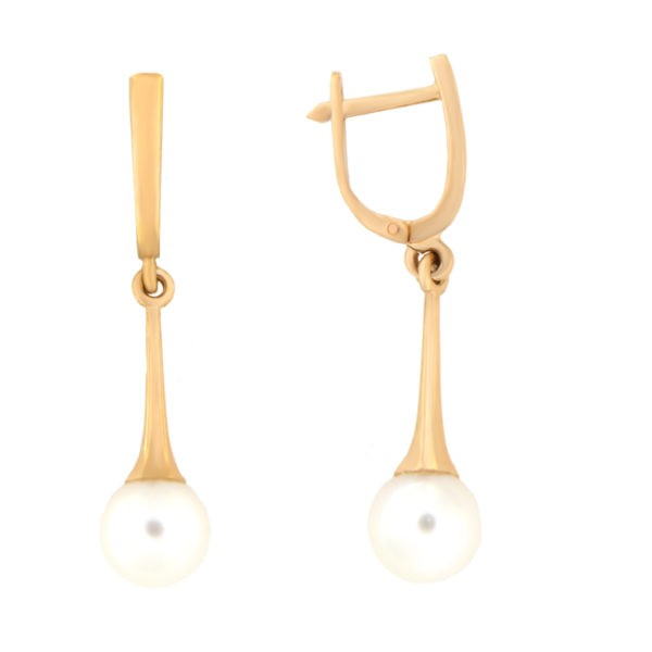 Kullast kõrvarõngad pärlitegaga Kood: er0153-312-7