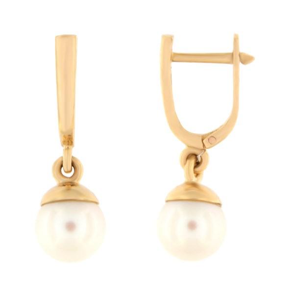 Kullast kõrvarõngad pärlitega Kood: er0153-318-7