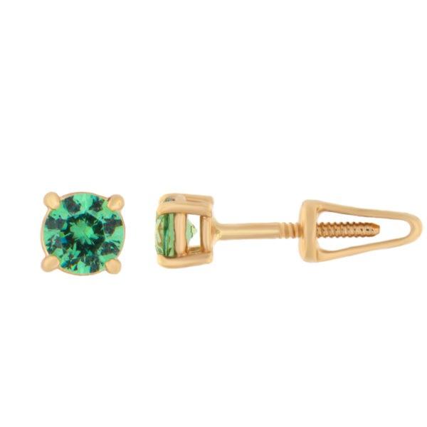 Kullast kõrvarõngad tsirkoonidega Kood: er0157-4-roheline