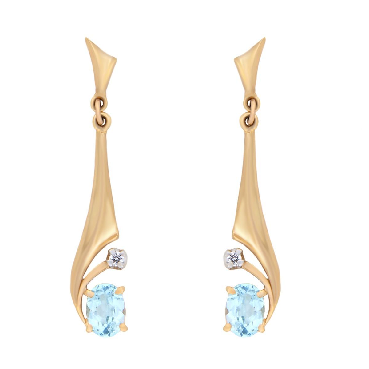 Kullast kõrvarõngad teemantide ja topaasiga Kood: er0313-topaas