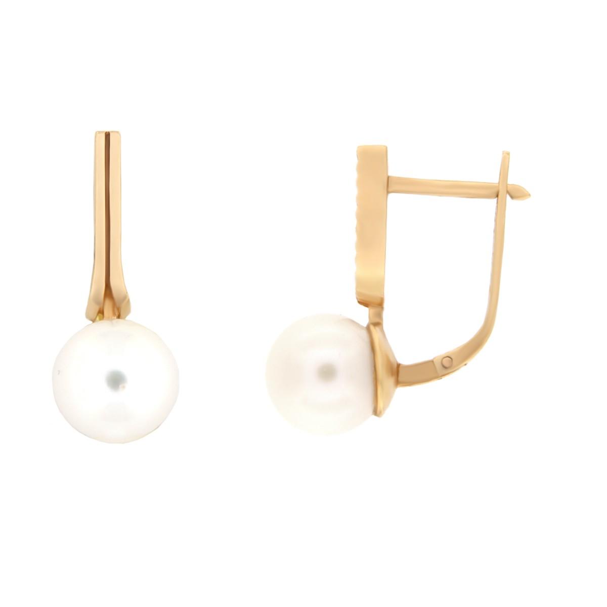 Kullast kõrvarõngad pärlitega Kood: er0314-8