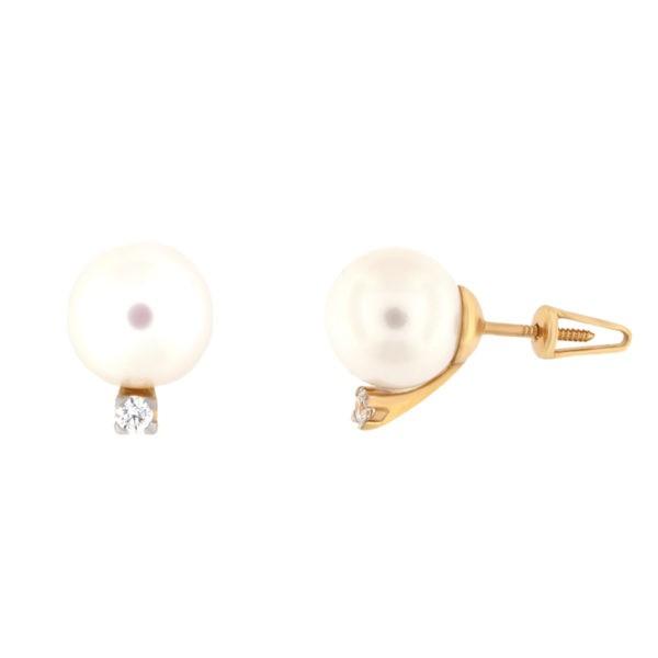 Kullast kõrvarõngad teemantide ja pärlitega Kood: er0319-10