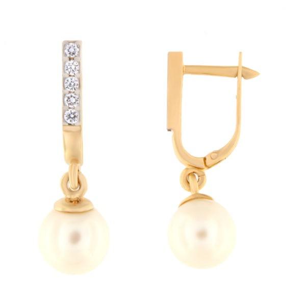 Kullast kõrvarõngad teemantide ja pärlitega Kood: er0321-318-8