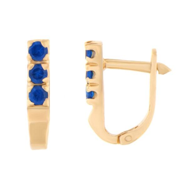 Kullast kõrvarõngad tsirkoonidega Kood: er0107-i-sinine
