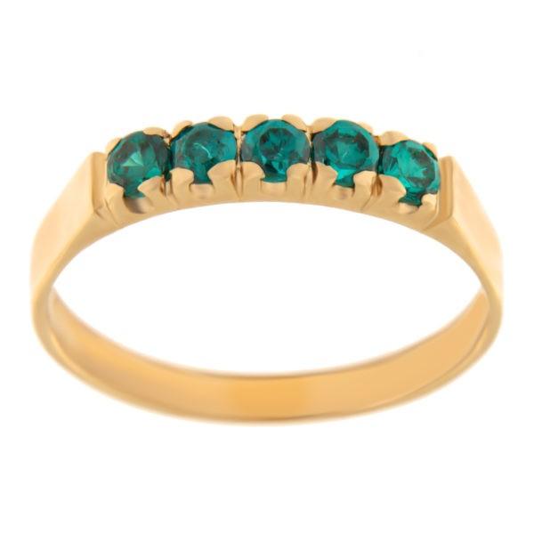Kullast sõrmus tsirkoonidega Kood: rn0130-2,5-roheline