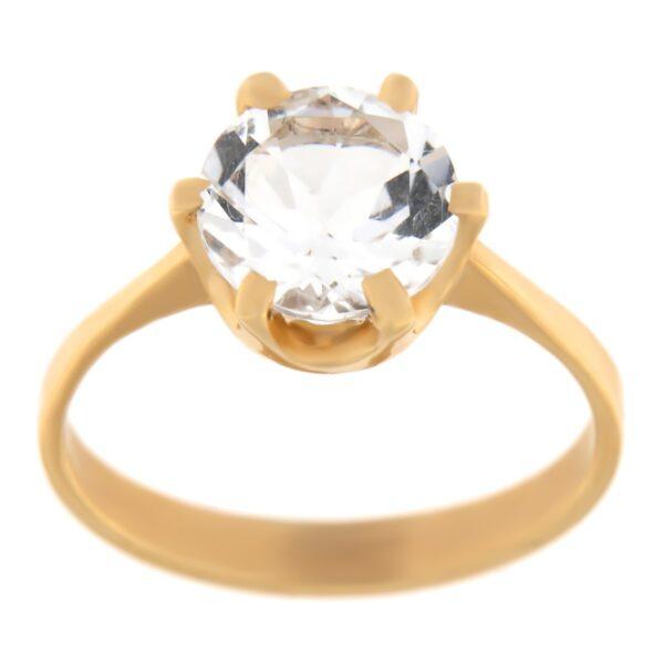 Kullast sõrmus mäekristalliga Kood: rn0153-mäekristall
