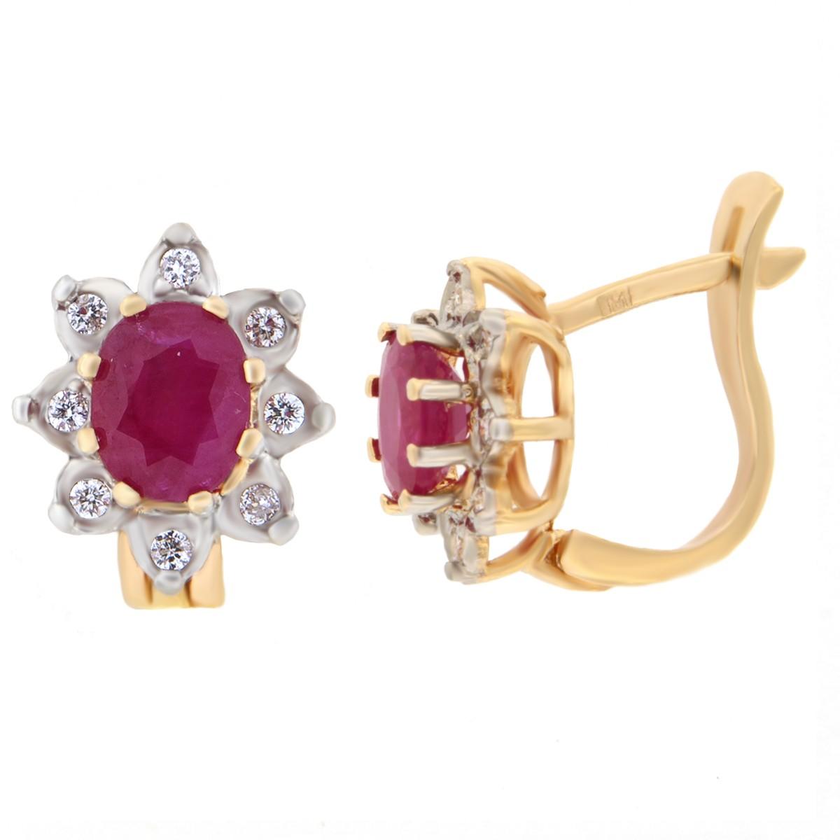 Kullast kõrvarõngad teemantide ja rubiiniga Kood: 4ct