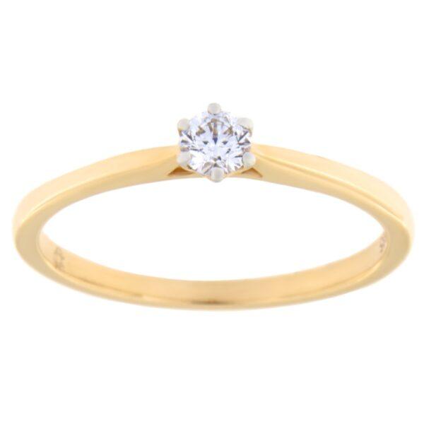 Kullast sõrmus teemantiga 0,14 ct. Kood: 72ae