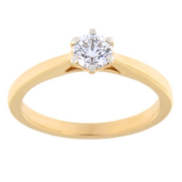 Kullast sõrmus teemantiga 0,39 ct. Kood: 75ae