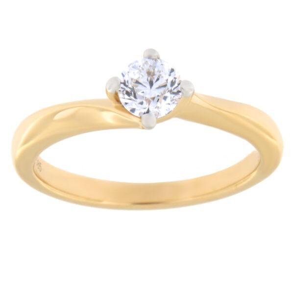 Kullast sõrmus teemantiga 0,40 ct. Kood: 90ae