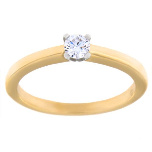 Kullast sõrmus teemantiga 0,15 ct. Kood: 102AE