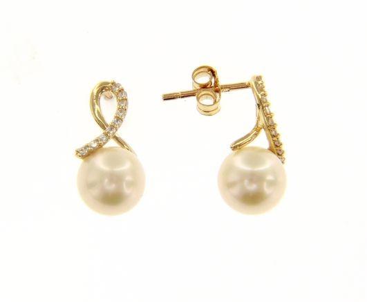 Kullast kõrvarõngad pärlitega Kood: 197591