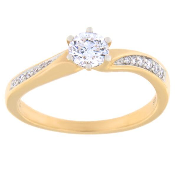 Kullast sõrmus teemantidega 0,44 ct. Kood: 98ae