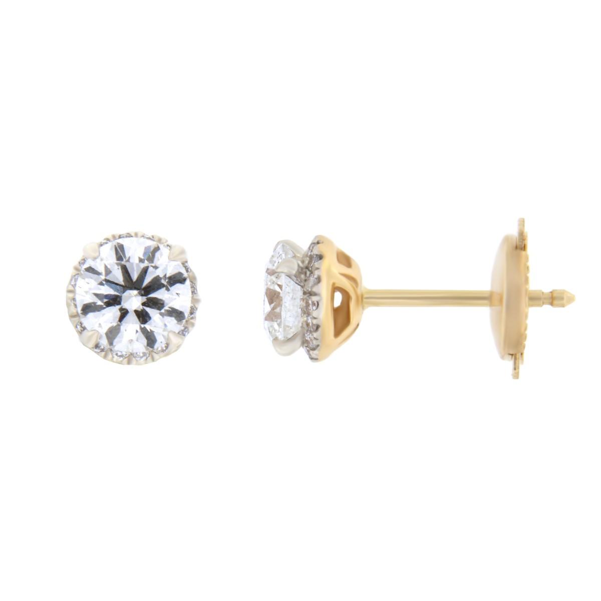 Kullast kõrvarõngad teemantidega 1,27 ct. Kood: 167ae