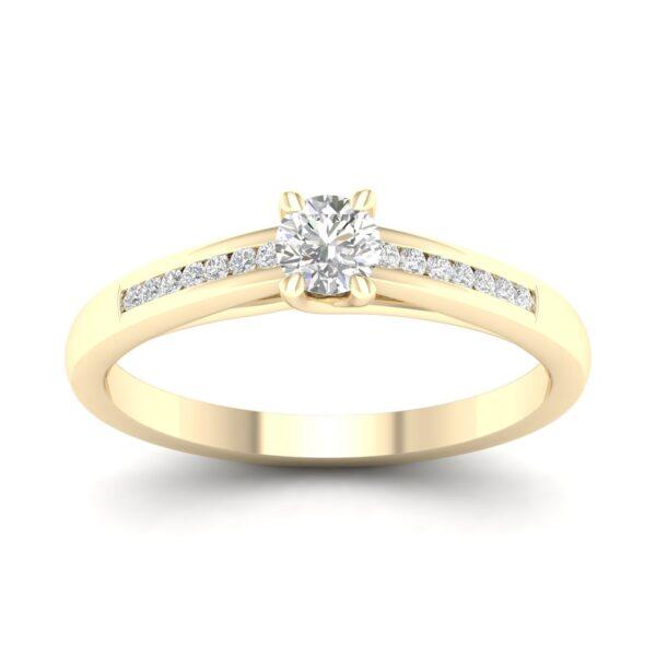 Kullast sõrmus teemantidega 0,18 ct. Kood: 54hc