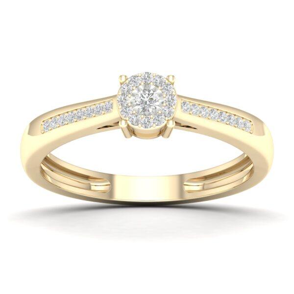 Kullast sõrmus teemantidega 0,10 ct. Kood: 28hc