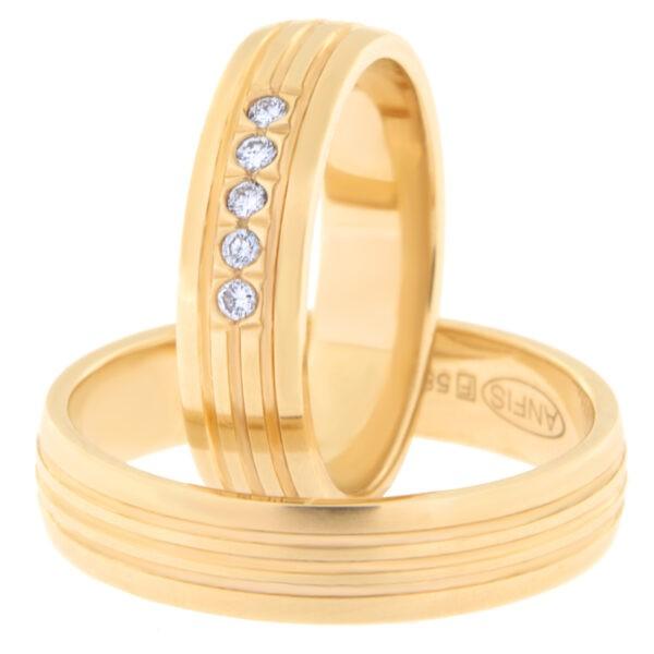 Kullast abielusõrmus teemantidega Kood: Rn0161-5-km1-5kk