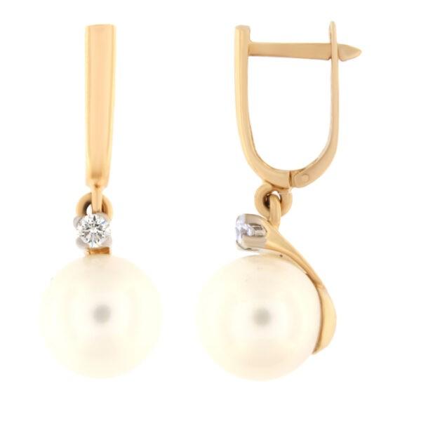 Kullast kõrvarõngad teemantide ja pärlitega Kood: er0153-319-10