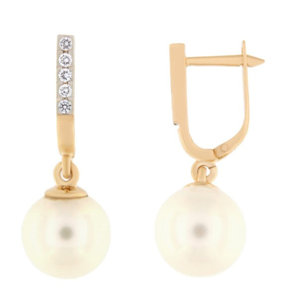 Kullast kõrvarõngad teemantidega ja pärlitega Kood: 206515